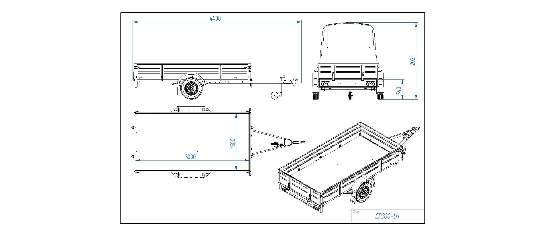 CP300-LH  [Priekabų standartinė įranga gali skirtis nuo pavaizduotos komplektacijos paveiksliuke]