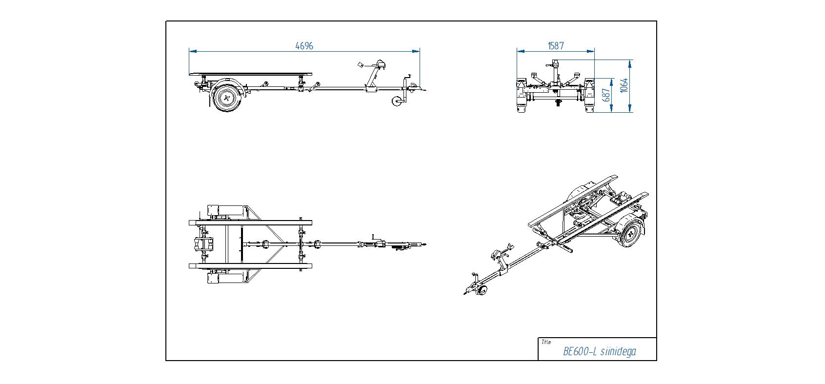 BE600-L su išilginėm atramom [Priekabų standartinė įranga gali skirtis nuo pavaizduotos komplektacijos paveiksliuke]