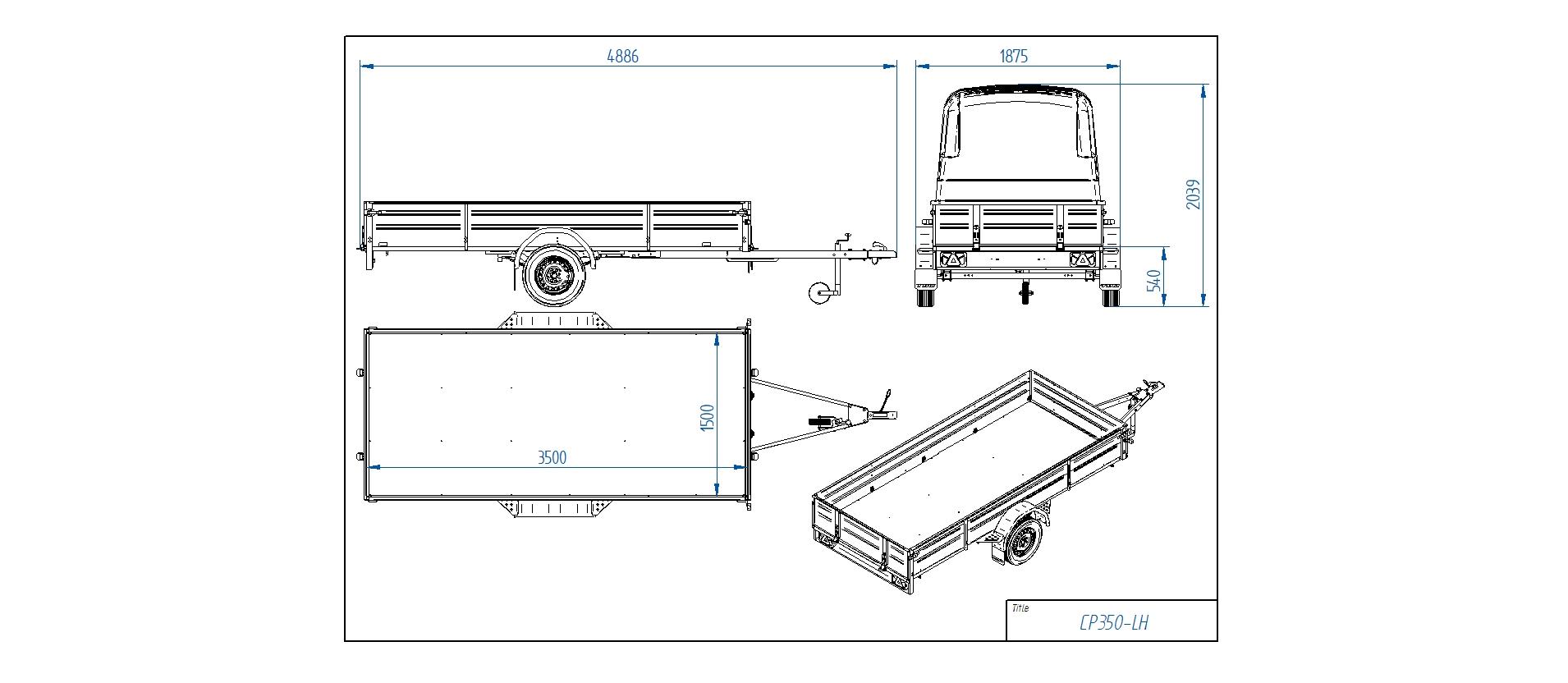 CP350-LH PRO  [Priekabų standartinė įranga gali skirtis nuo pavaizduotos komplektacijos paveiksliuke]